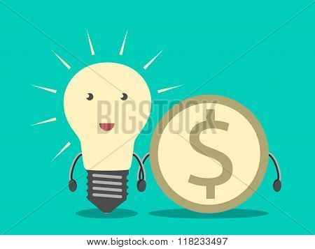 Lightbulb And Dollar Coin
