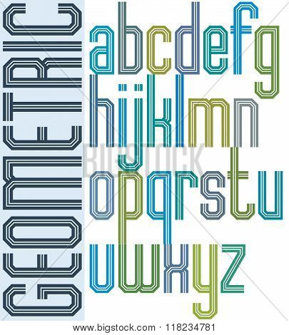Retro colorful font with triple lines geometric poster letters.