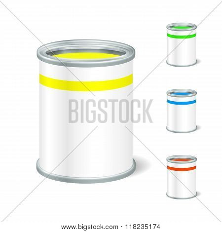 Realistic Blank Open Paint Bucket. Tin For Liquid. Mock Up To Ad
