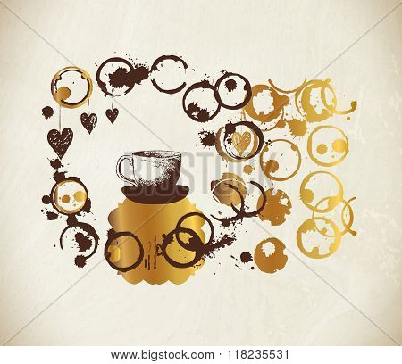 Golden drawn cup coffee with splashes and blots.