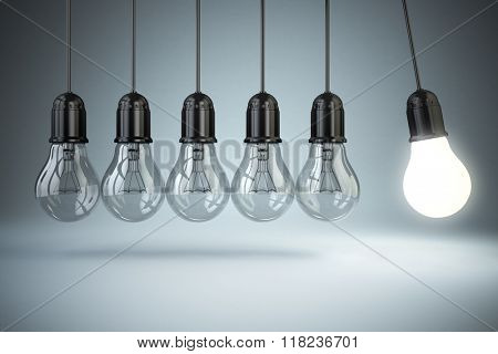 Light bulbs and perpetual motion. Idea o creativity concept.3d