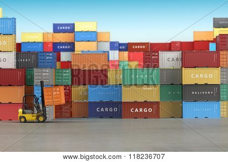 Delivery or warehouse  background concept. Cargo shipping containers in storage area with forklifts. 3d