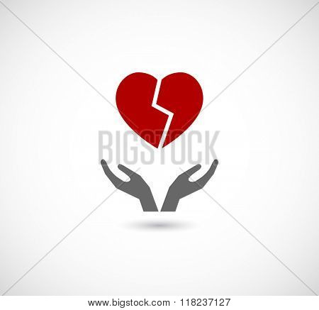 hands caring broken heart - icon for web
