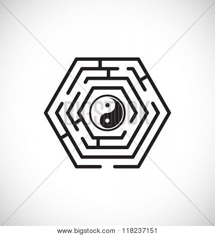 ying yang inside maze labyrinth - web icon