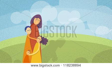 Mother Three Children, Boys Girl Embrace Outdoors