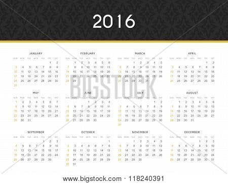 Simple modern calendar 2016 in English . Ready for print design