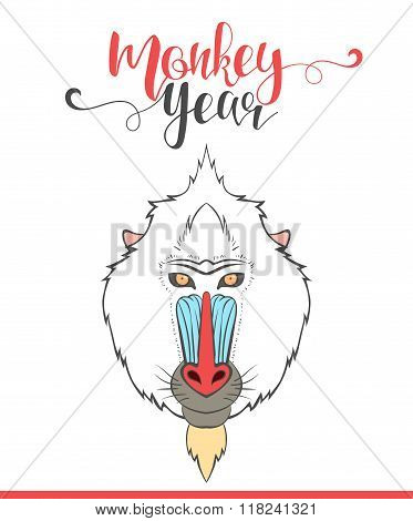 Lettering calligraphy with monkey. Happy monkey year. Modern lettering.