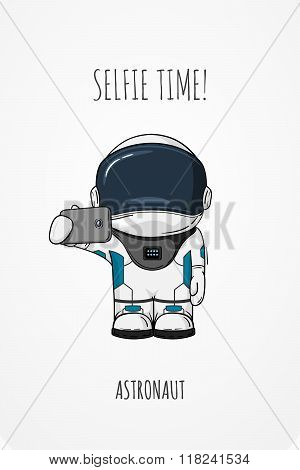 Vector Illustration Of Cosmonaut With Smartphone In Hand. Design Concept. Photos Myself. Selfie Time