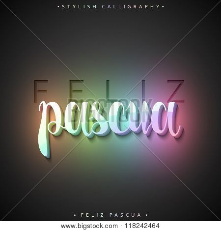 Feliz pascua. 3D Greeting inscription Happy Easter in Spanish