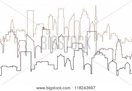 City View With Skyscrapers, Cityscape Silhouette