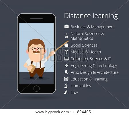 distance learning. Professor in mobile phone. List of academic disciplines. Business and management,