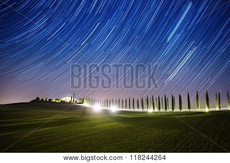 Landscape with star trails