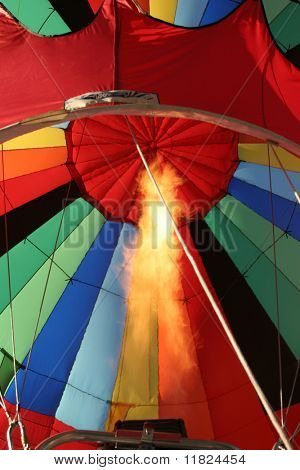 Hot air balloon and flames