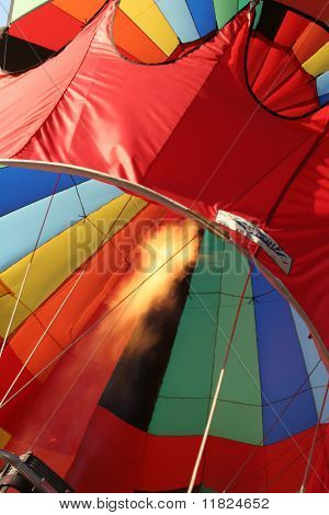 Colorful balloon and flames