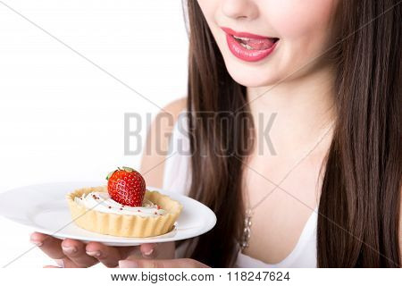 Female Model With Appetizing Cake