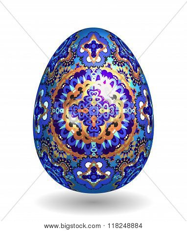 Colorful Single Vector Easter Egg with Abstract Colorful Pattern - Beautiful Close Up Design with Smooth Shadow on the Ground. Gold and bright blue ornate pattern on blue egg.