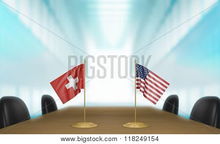Switzerland and United States relations and trade deal talks 3D rendering