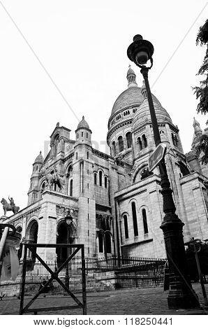Sacra-Cur, famous church in Paris, France in black & white.