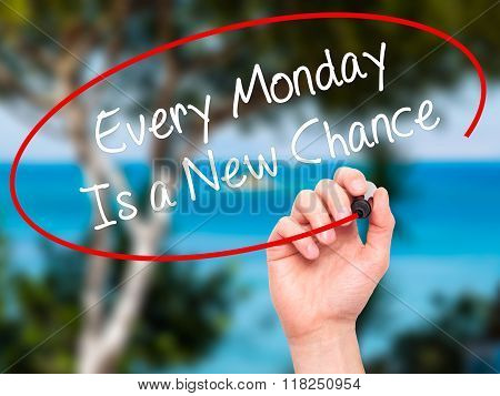 Man Hand Writing Every Monday Is A New Chance With Black Marker On Visual Screen