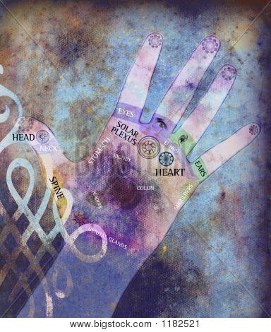 Manos de energía Chakra - violeta