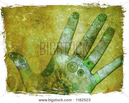 Mãos de Chakra energia - verde