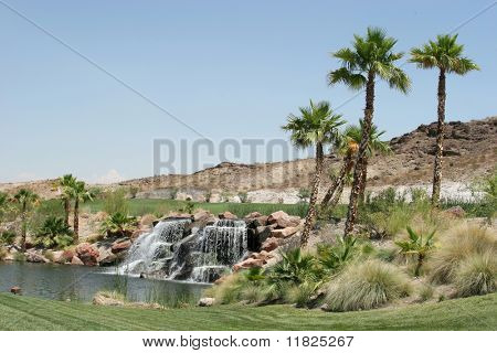 Beautiful waterfall and palm trees