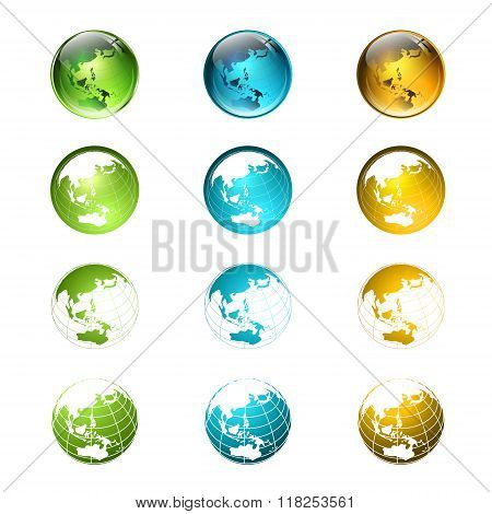 World Multicolored Globe Logo Or Icon Collection