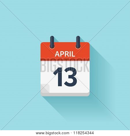 April 13. Vector flat daily calendar icon. Date and time, day, month. Holiday.