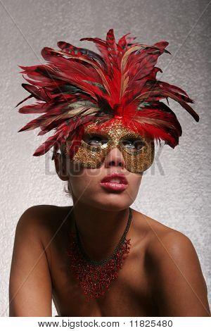 Beautiful black woman in mask
