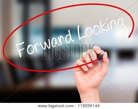 Man Hand Writing Forward Looking With Black Marker On Visual Screen