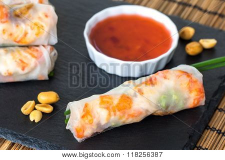 Vietnamese Shrimp Roll With Red Sauce