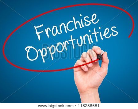 Man Hand Writing Franchise Opportunities  With Black Marker On Visual Screen