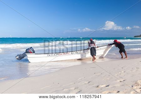 Motorboat With Local Drivers On The Beach
