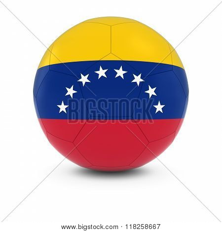 Venezuela Football - Venezuelan Flag on Soccer Ball - 3D Illustration