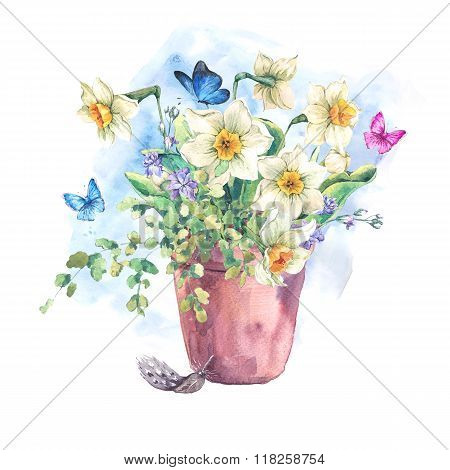 Watercolor Garden Spring bouquet in flower pots