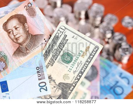 Twenty Chinese Yuan, Euro And Us Dollar Notes