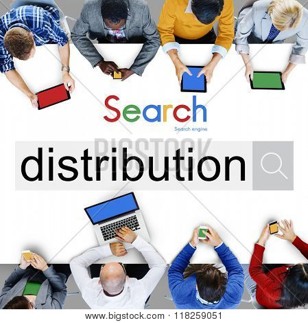 Distribution Distribute Distributed Goods Business Concept