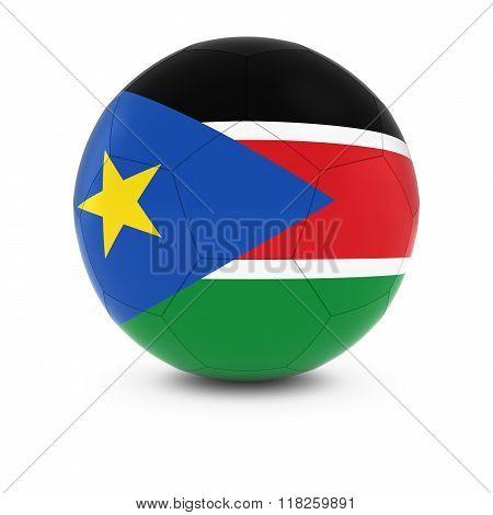 South Sudan Football - South Sudanese Flag on Soccer Ball - 3D Illustration