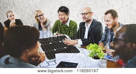 Business People Discussing Solar Power Environment Concept