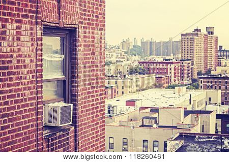 Vintage Toned Window With Air Conditioner, Harlem, Usa