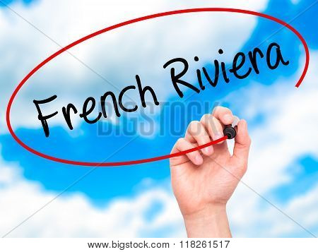 Man Hand Writing French Riviera With Black Marker On Visual Screen