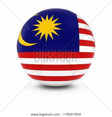 Malaysia Football - Malaysian Flag on Soccer Ball - 3D Illustration