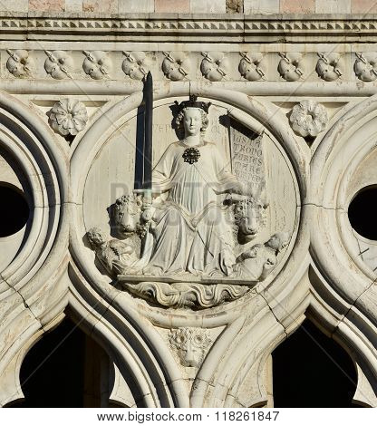 Goddess Of Justice From Doge's Palace In Venice