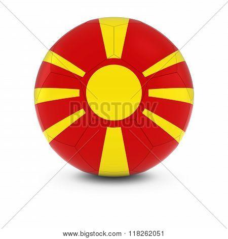 Macedonia Football - Macedonian Flag on Soccer Ball - 3D Illustration