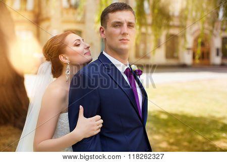 Happy bride and groom at the wedding walk