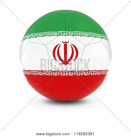 Iran Football - Iranian Flag on Soccer Ball - 3D Illustration