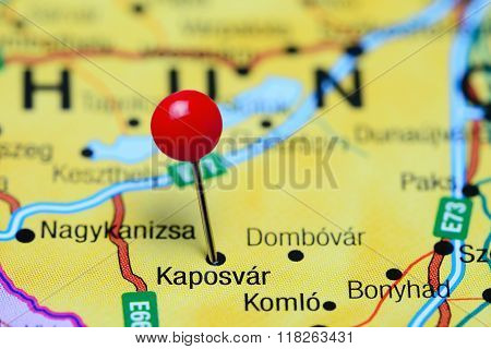 Kaposvar pinned on a map of Hungary