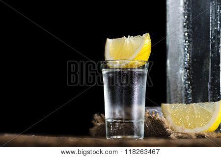 Pure Vodka (on An Old Wooden Table)