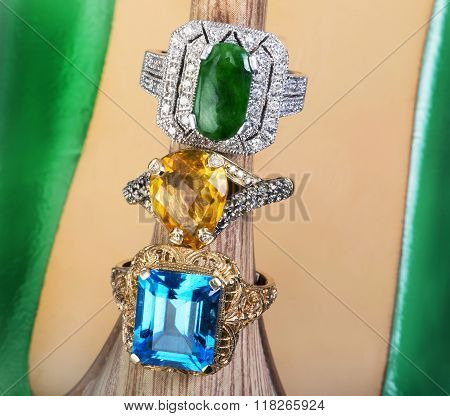 Topaz,citrine And Jade Rings.