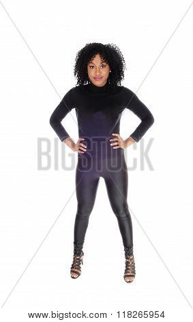 African American Woman In Black Tights.